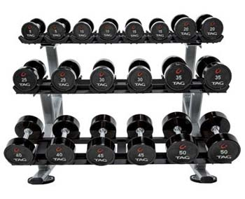 tag 7.5 to 27.5lb premium ultrathane dumbbell (5 pairs)