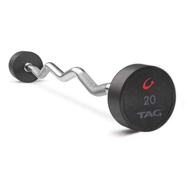 Tag Premium Ultrathane Fixed Barbell With Ez Curl Handle